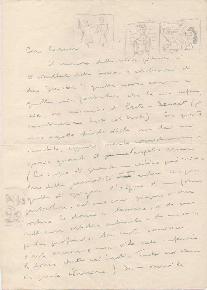 lunga lettera autografa firmata (con alcuni schizzi di mano di campigli) inviata a raffaele carrieri.