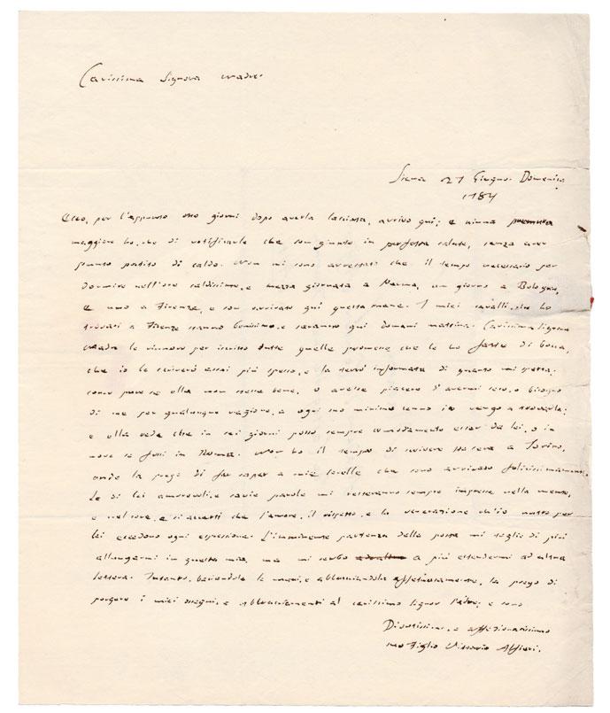 lettera autografa firmata, inviata «a [...] madame [monica maillard] la comtesse alfieri de castagnole neé tournon a asti»