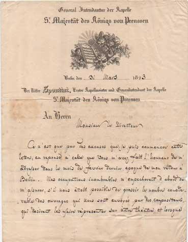 """lettera autografa firmata inviata al sig. [ferdinand] fränzl, """"directeur de la musique royal"""" di monaco. datata 31 marzo 1823"""