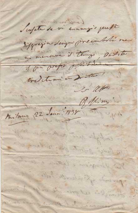 lettera autografa firmata inviata all'avv. andrea cipriano ghedini. datata 22 gennaio 1838.