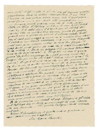 Lettera autografa firmata inviata a Bartolo Nigrisoli. Datata 10 settembre 1945,...