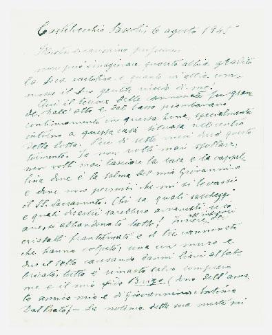 lettera autografa firmata inviata a bartolo nigrisoli. datata 6 agosto 1945, castelvecchio pascoli