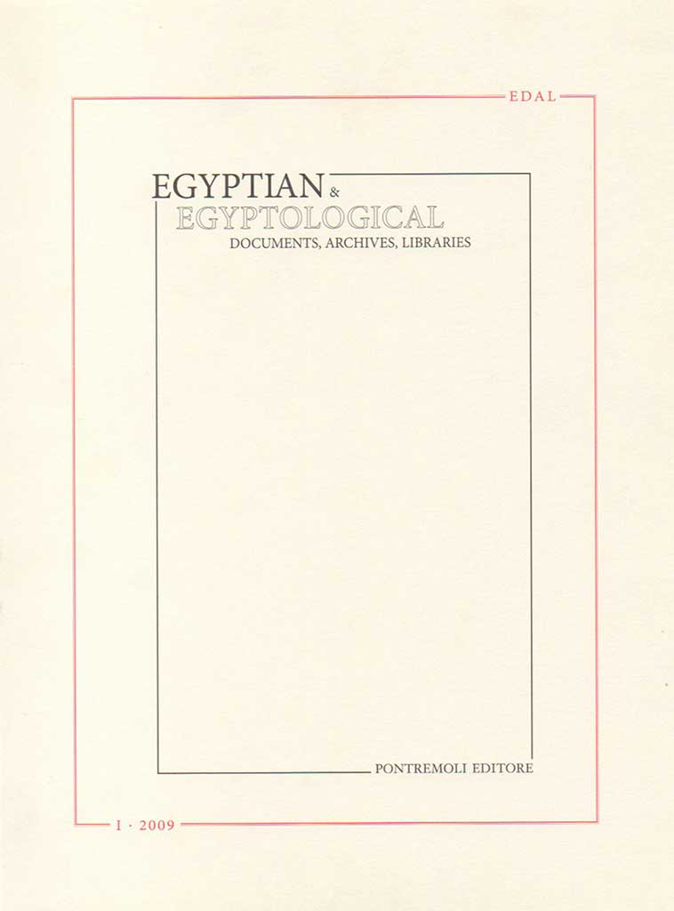 edal: egyptian & egyptological documents archives libraries - n. 1