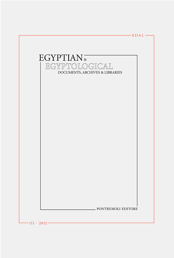 edal: egyptian & egyptological documents archives libraries - n. 3