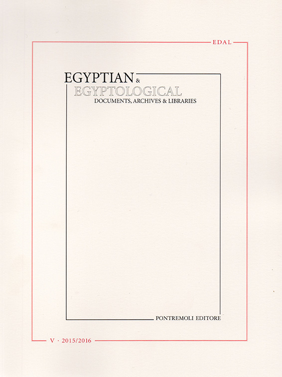 edal: egyptian & egyptological documents archives libraries - n. 5