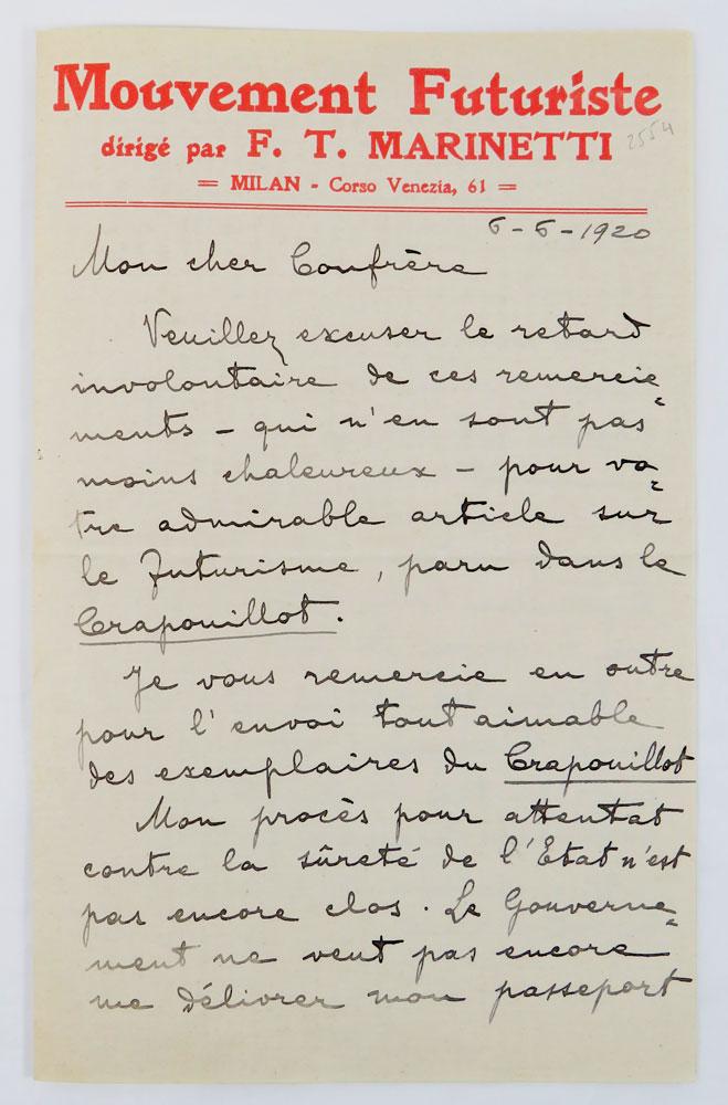 lettera autografa firmata inviata a «mon cher confrere [dominique braga]»; carta intestata in rosso «mouvement futuriste dirigé par f.t. marinetti»