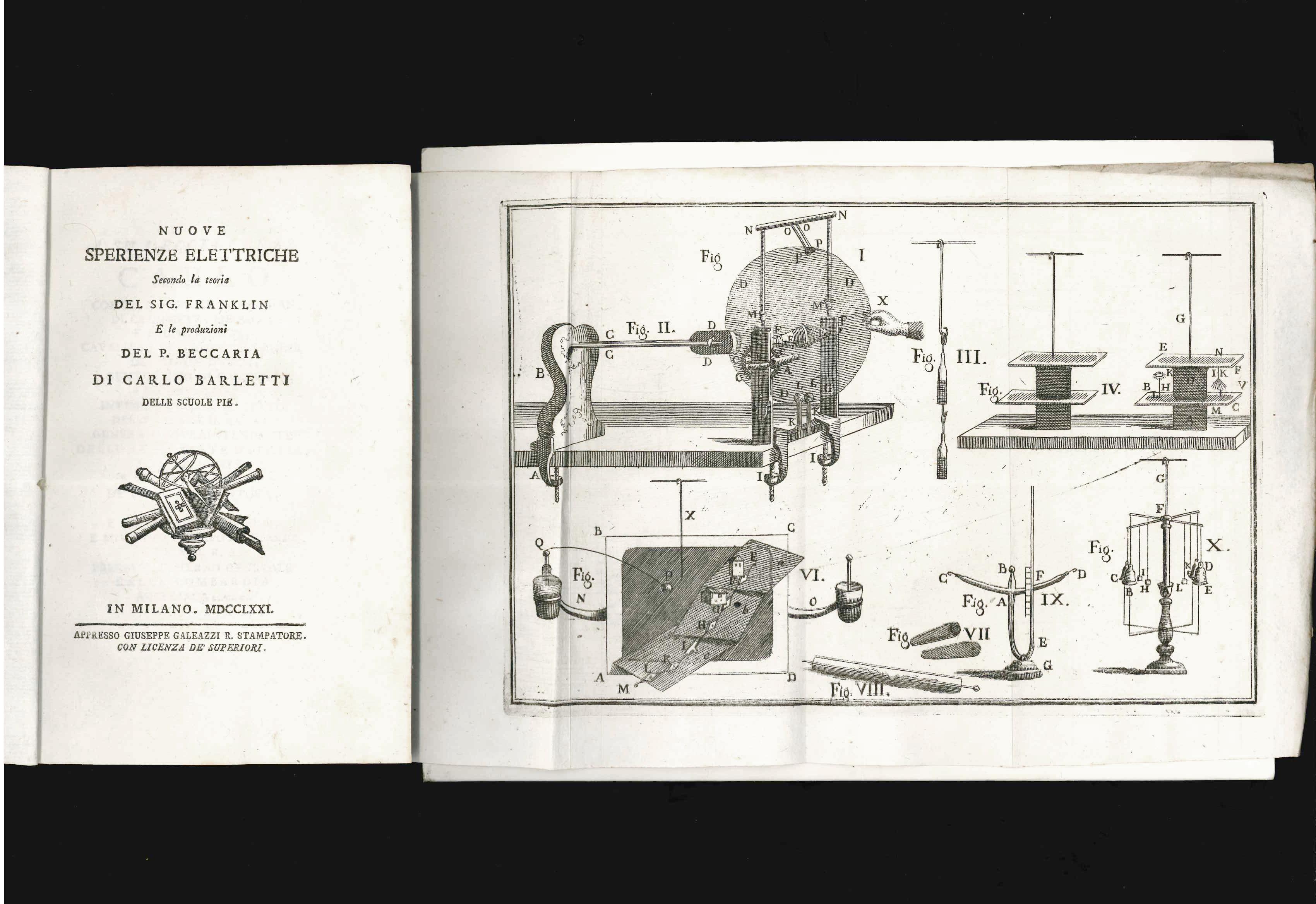 [Benjamin Franklin] Carlo Barletti — Nuove sperienze elettriche secondo la teoria del sig. Franklin. E le produzioni del P. Beccaria di Carlo Barletti delle Scuole Pie
